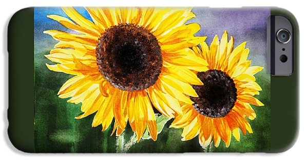 Celebration Paintings iPhone Cases - Two Suns Sunflowers iPhone Case by Irina Sztukowski