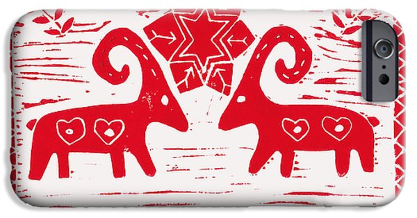 Horns Reliefs iPhone Cases - Two Swedish Yule Goats iPhone Case by Lynn-Marie Gildersleeve