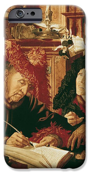Finance iPhone Cases - Two Tax Gatherers, C.1540 Oil On Panel iPhone Case by Marinus van Reymerswaele