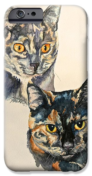 Litter Mates iPhone Cases - Two Tortis iPhone Case by Susan Herber