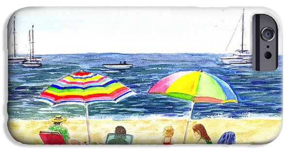 Pleasure iPhone Cases - Two Umbrellas On The Beach California  iPhone Case by Irina Sztukowski