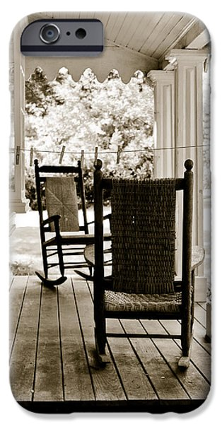 Rocking Chairs Photographs iPhone Cases - Two Vintage Rockers iPhone Case by Colleen Kammerer