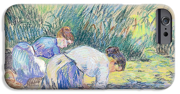 Lady Pastels iPhone Cases - Two Washerwomen iPhone Case by Jean Baptiste Armand Guillaumin