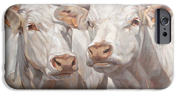 Young Paintings iPhone Cases - Two White French Calves iPhone Case by Anke Classen