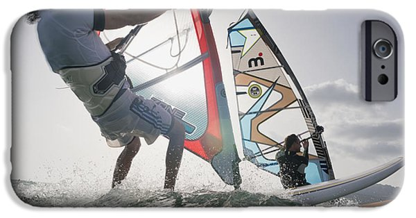 Sail Board iPhone Cases - Two Windsurfers Side By Side iPhone Case by Ben Welsh