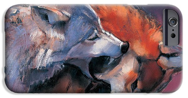 Animal Cards iPhone Cases - Two Wolves iPhone Case by Mark Adlington