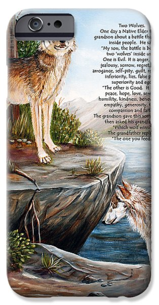 Two Wolves- poster iPhone Case by Dorothy Riley