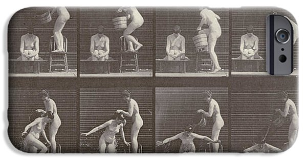 Women Together iPhone Cases - Two Women Bathing iPhone Case by Eadweard Muybridge