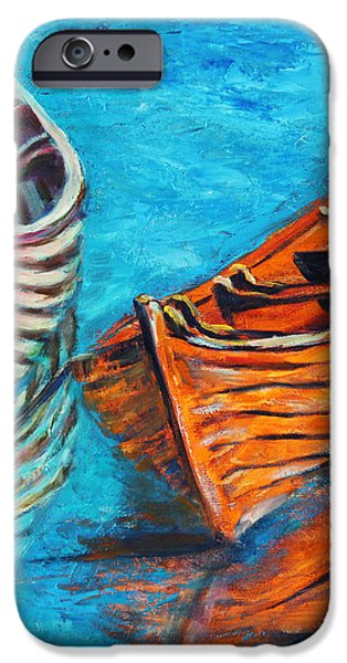 Two Wood Boats iPhone Case by Xueling Zou