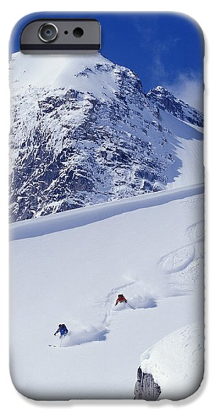 Two Young Men Skiing Untracked Powder iPhone Case by Henry Georgi Photography Inc