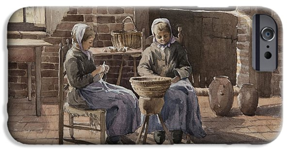 Labour iPhone Cases - Two Young Women Peeling Potatoes Wc On Paper iPhone Case by Henri Duhem