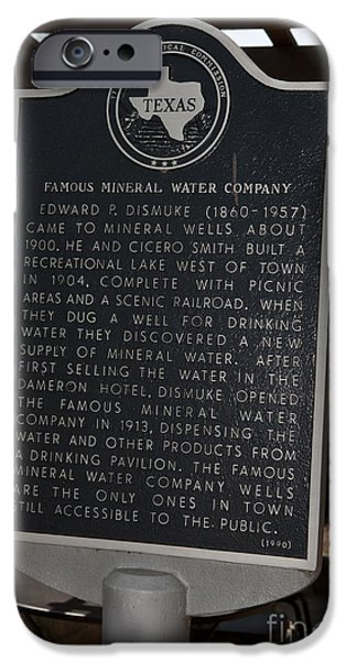 Historic Site iPhone Cases - TX-1568 Famous Mineral Water Company iPhone Case by Jason O Watson