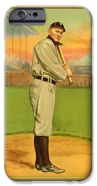 Cards Vintage iPhone Cases - Ty Cobb Baseball Card Portrait iPhone Case by Gary Bodnar