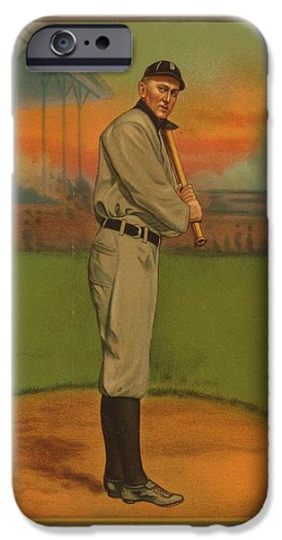 Detroit Tigers Baseball Art iPhone Cases - Ty Cobb Circa 1911 iPhone Case by George Pedro