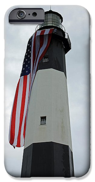 Tybee Island iPhone Cases - Tybee Island Lighthouse - Red White and Blue detail iPhone Case by Suzanne Gaff