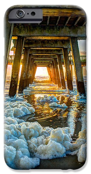 Tybee Island Pier iPhone Cases - Tybee Island Pier Sunrise Seafoam iPhone Case by Reid Callaway