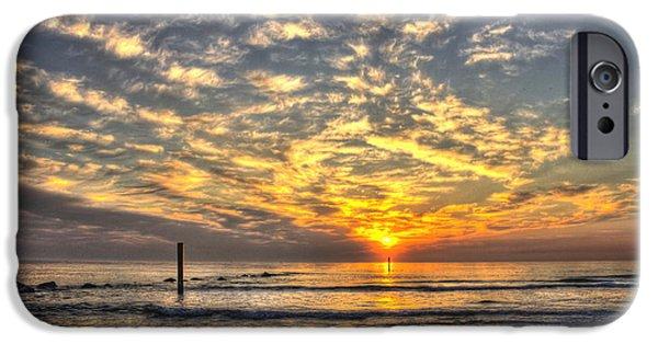 Tybee Island Pier iPhone Cases - Calm Seas and A Tybee Island Sunrise iPhone Case by Reid Callaway