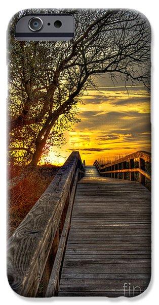 Tybee Island Pier iPhone Cases - Tybee Island Sunrise Walkway across the Georgia Coast Sand Dunes iPhone Case by Reid Callaway