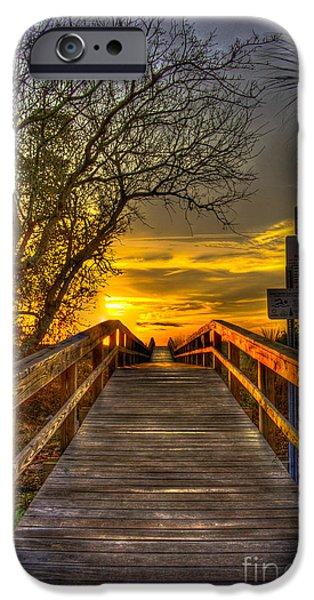 Tybee Island Pier iPhone Cases - Tybee Island Sunrise Walkway across the Georgia Coastal Sand Dunes iPhone Case by Reid Callaway