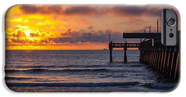 Tybee Island Pier iPhone Cases - Tybee Pier Sunrise #2 iPhone Case by Jamie Anderson