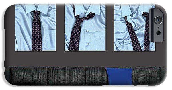 Ties iPhone Cases - Tying One On - Mens Tie Art By Sharon Cummings iPhone Case by Sharon Cummings