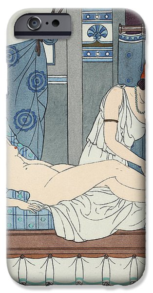 Robe Drawings iPhone Cases - Tying the Legs Together iPhone Case by Joseph Kuhn-Regnier
