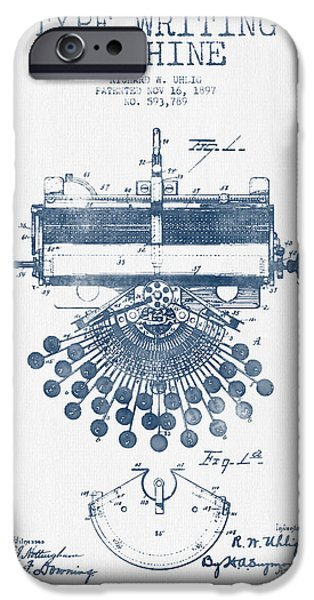 Keyboard iPhone Cases - Type Writing Machine Patent Drawing From 1897 - Blue Ink iPhone Case by Aged Pixel