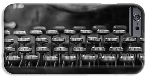 Typewriter Keys iPhone Cases - Typewriter Keys in Black and White iPhone Case by Nomad Art And  Design