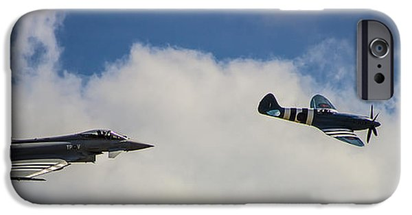 Cockpit Photographs iPhone Cases - Typhoon v Spitfire iPhone Case by Martin Newman