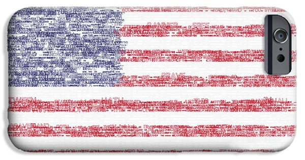 Waving Flag Mixed Media iPhone Cases - Star Spangled Banner Typography US Flag iPhone Case by Celestial Images