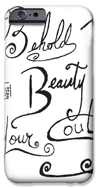 Joyful Drawings iPhone Cases - Typography Black and White Word Art Unique and Whimsical Drawing by Megan Duncanson iPhone Case by Megan Duncanson