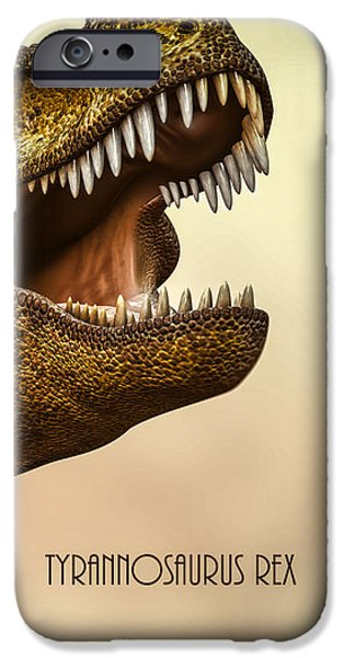 Collectible Digital Art iPhone Cases - Tyrannosaurus Rex 3 iPhone Case by Bob Orsillo