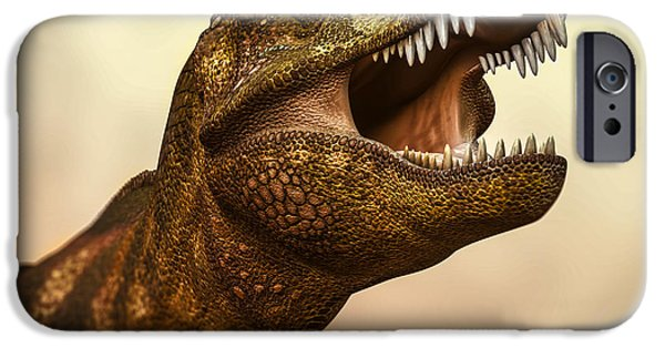 Frame Shop Digital Art iPhone Cases - Tyrannosaurus Rex 3 iPhone Case by Bob Orsillo