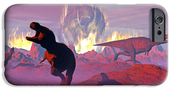 Wildlife Disasters iPhone Cases - Tyrannosaurus Rex Dinosaurs Escaping iPhone Case by Elena Duvernay