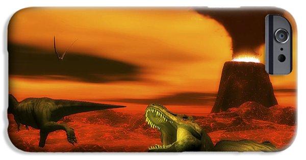 Wildlife Disasters iPhone Cases - Tyrannosaurus Rex Dinosaurs Struggle iPhone Case by Elena Duvernay
