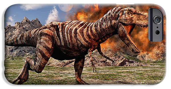 Wildlife Disasters iPhone Cases - Tyrannosaurus Rex Escaping A Volcanic iPhone Case by Mark Stevenson