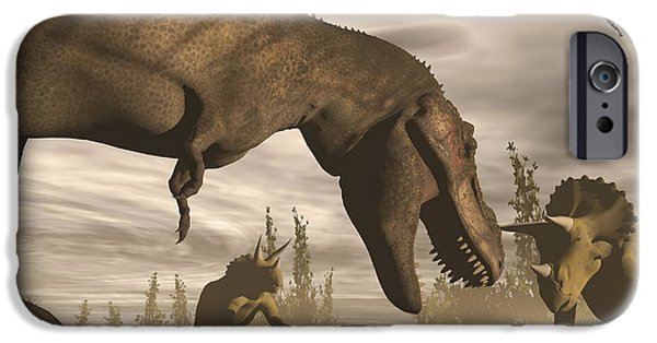 Triceratops iPhone Cases - Tyrannosaurus Rex Roaring At Two iPhone Case by Elena Duvernay