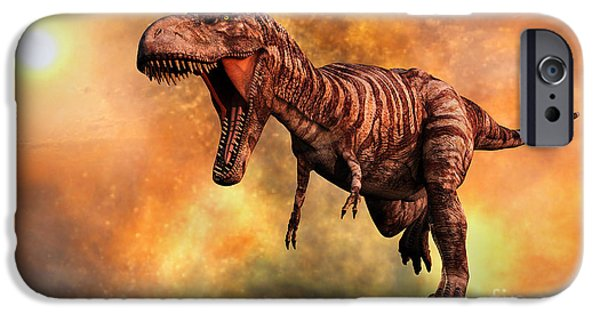Wildlife Disasters iPhone Cases - Tyrannosaurus Rex Running From A Deadly iPhone Case by Mark Stevenson