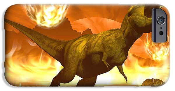 Wildlife Disasters iPhone Cases - Tyrannosaurus Rex Struggles To Escape iPhone Case by Elena Duvernay