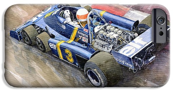 Motor Sport iPhone Cases - Tyrrell Ford Elf P34 F1 1976 Monaco GP Jody Scheckter iPhone Case by Yuriy  Shevchuk