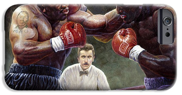 Mike The Tiger iPhone Cases - Tyson/Holyfield iPhone Case by Gregory Perillo