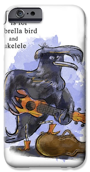Ukelele iPhone Cases - U is for Umbrella Bird iPhone Case by Sean Hagan