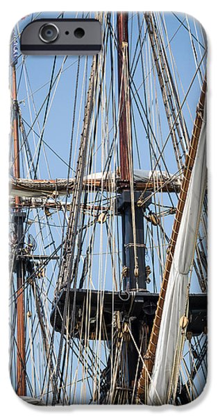 Tall Ship iPhone Cases - U. S. Brig Niagara Rigging iPhone Case by Dale Kincaid