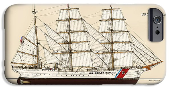 Color Drawings iPhone Cases - U. S. Coast Guard Cutter Eagle - Color iPhone Case by Jerry McElroy - Public Domain Image