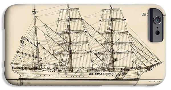 Recently Sold -  - Sailing iPhone Cases - U. S. Coast Guard Cutter Eagle - Sepia iPhone Case by Jerry McElroy - Public Domain Image