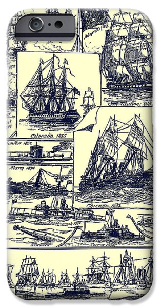 Constitution Drawings iPhone Cases - U. S. Navy Historic Ships from an 1891 U. S. Travel Handbook iPhone Case by Phil Cardamone
