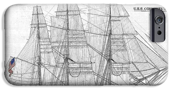 Constitution Drawings iPhone Cases - U S S Constitution Sail Drawing iPhone Case by Mim White