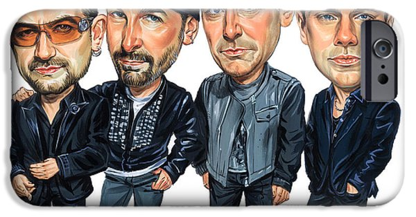 U2 Paintings iPhone Cases - U2 iPhone Case by Art
