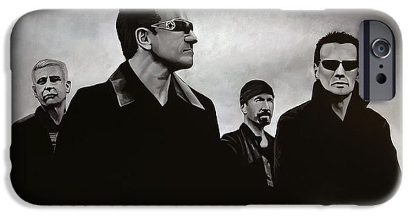 U2 Paintings iPhone Cases - U2 iPhone Case by Paul Meijering