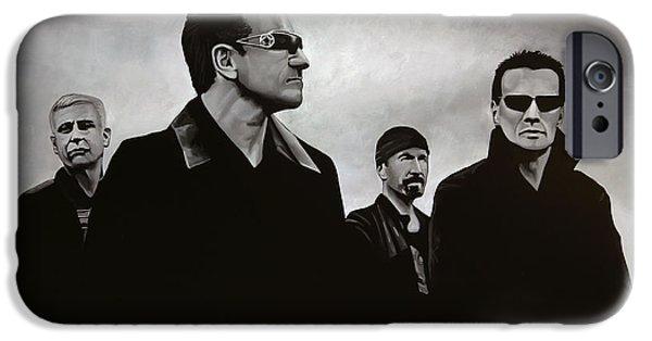 Rock Stars Paintings iPhone Cases - U2 iPhone Case by Paul Meijering